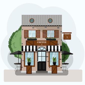 Kaffeehaus außenvektorillustration flaches design der fassadenillustration einer stadtstraße