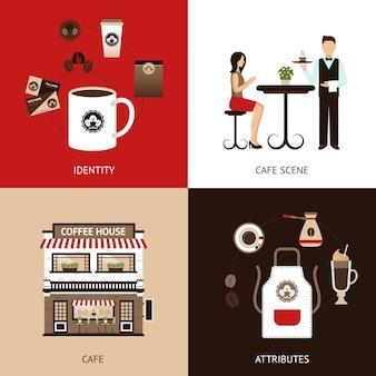 Kaffeehaus-flat-set Kostenlosen Vektoren