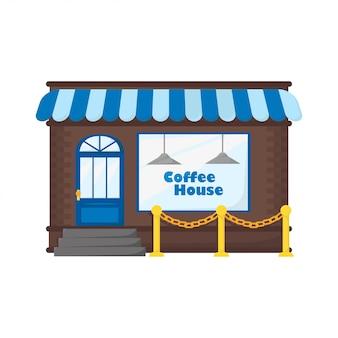 Kaffeehaus im flachen stil