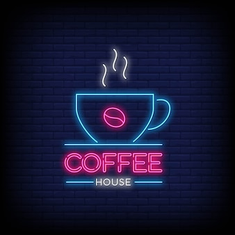 Kaffeehaus im leuchtreklame-artsymbol