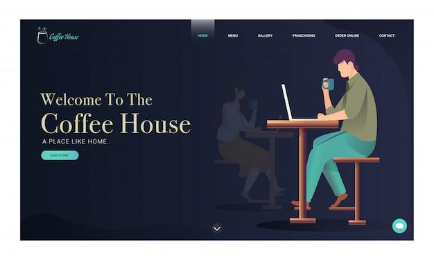 Kaffeehaus-landungsseite mit dem jungen und mädchen, die im laptop mit trinkendem kaffee arbeiten.
