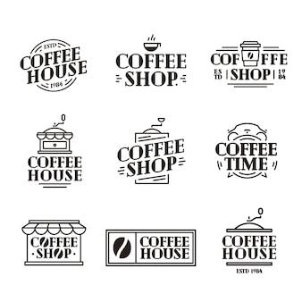 Kaffeehaus und ladenlogo eingestellt mit pappbecher kaffee