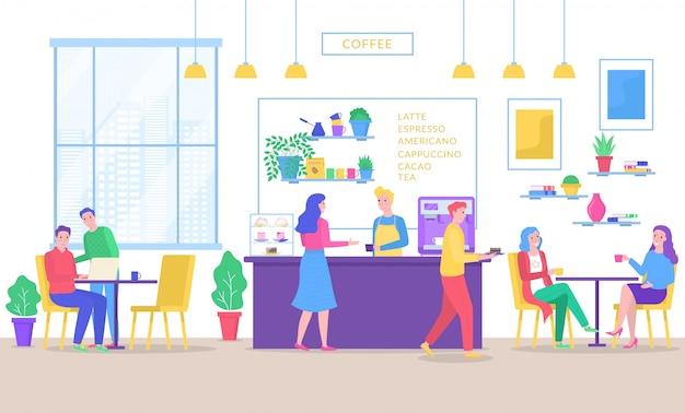 Kaffeehausbarleute trinken kaffee im café, mann und frau, die an tischen sitzen, barista, der an der theke der kaffeehausillustration steht.