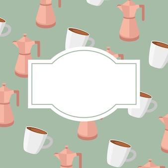 Kaffeekannen und tassenschablone mit leerem rahmen