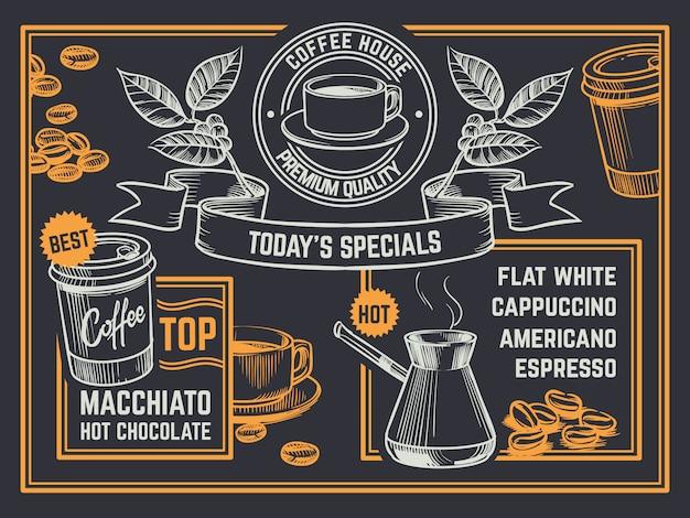 Kaffeekarte. vintage handgezeichnete coffeeshop flyer. plakat mit cappuccino und heißer schokolade