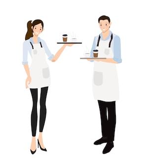 Kaffeekellner oder barista im blauen hemduniformsatz