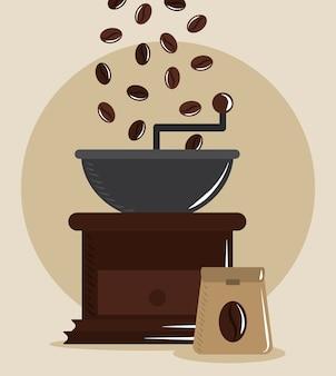 Kaffeekochen, mahlrösterkörner und sackproduktvektorillustration
