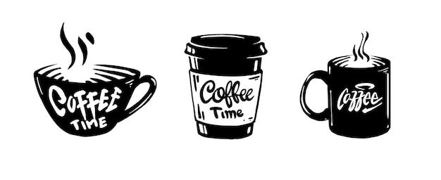 Kaffeekunstentwurf mit handgezeichnetem stil