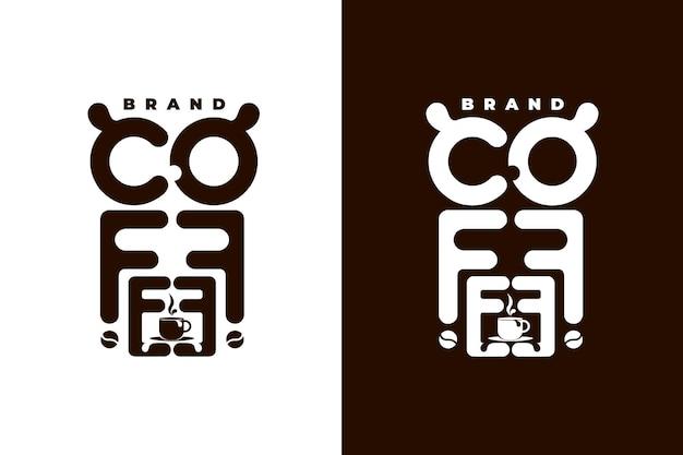 Kaffeelogokonzept in weißem und schwarzem hintergrund