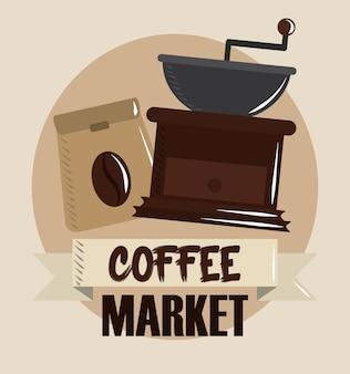 Kaffeemarkt, mühle und sackproduktfahnenvektorillustration