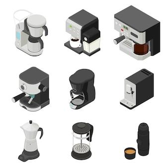 Kaffeemaschine eingestellt, isometrische art