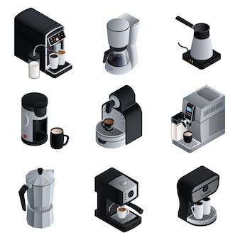 Kaffeemaschine eingestellt. isometrischer satz des kaffeemaschinenvektors