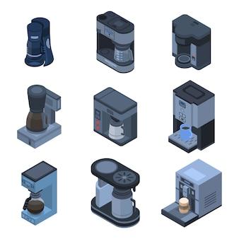 Kaffeemaschine-icon-set. isometrischer satz kaffeemaschinevektorikonen für das webdesign lokalisiert auf weißem hintergrund