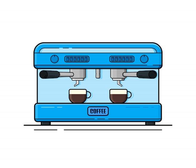 Kaffeemaschine im flachen stil. blaue kaffeemaschine auf einem weißen hintergrund mit einer tasse heißen kaffees.