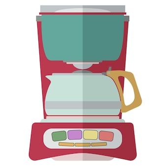Kaffeemaschine isoliert auf weißem hintergrund. espressomaschine, die zwei tassen kaffee brüht. vektor-illustration.