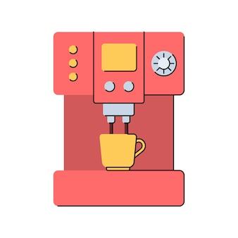 Kaffeemaschine und becher das getränk wird in eine tasse gegossen küchengeräte flache ausführung