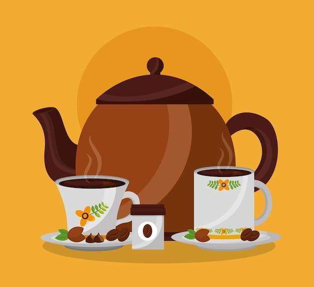 Kaffeemaschine und heiße getränke tassen auf geschirr körner