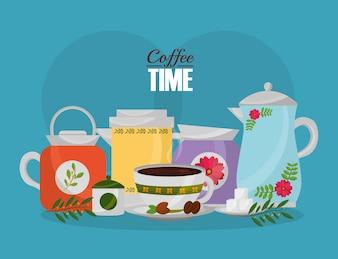 Kaffeemaschine und Tasse mit Zuckersamen und Blumendekoration