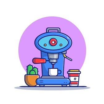 Kaffeemaschinen-pod, becher, tasse und kaktus-karikatur-symbol-illustration. kaffeemaschinen-symbol-konzept isoliert premium. flacher cartoon-stil
