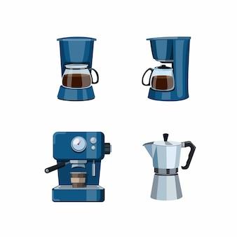 Kaffeemaschinencafé oder küchensymbolikone eingestellt in karikaturillustration auf weißem hintergrund