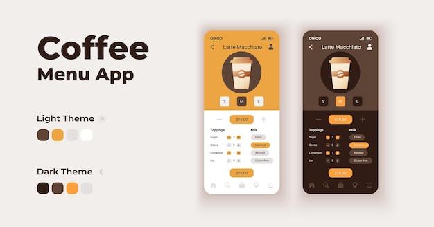 Kaffeemenü-cartoon-smartphone-schnittstelle vektorvorlagen eingestellt. design der mobilen app-bildschirmseite im nacht- und tagmodus. koffeinhaltige getränke, die ui für die anwendung bestellen. telefondisplay mit flacher schrift