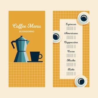Kaffeemenü für caféschablone mit dunkelblauer tasse und weißem becher und blauer kaffeekanne im flachen entwurfsstil auf gelber tischdecke