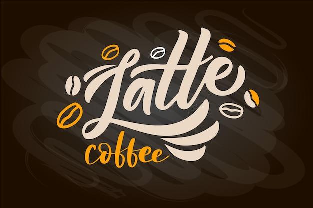 Kaffeemenü schriftzug latte moderne kalligraphie kaffee cappuccino espresso und macchiato oder mokka