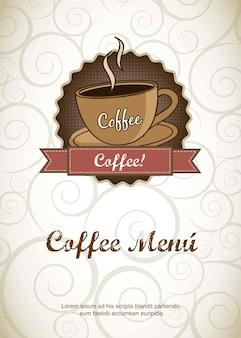 Kaffeemenü über verzierungshintergrund-vektorillustration