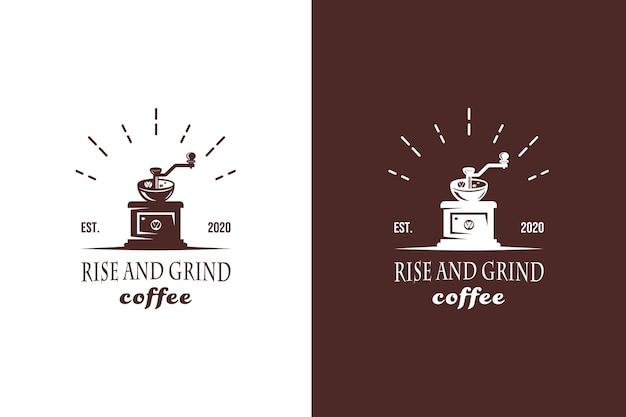 Kaffeemühlenlogo mit vintage-handgezeichnetem rustikalem stil für café-shop