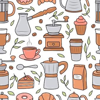 Kaffeemuster mit verschiedenen kaffeemaschinen und desserts auf weißem hintergrund. doodle-skizze-stil. vektorillustration für cafés, cafés. süße cartoon-bilder.