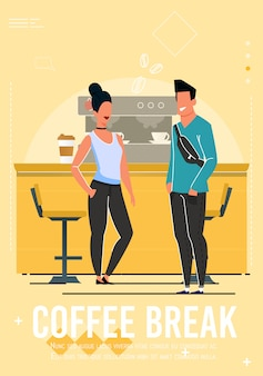 Kaffeepause an der caféfahne mit karikatur-leuten