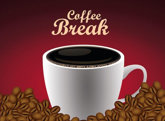 Kaffeepause-beschriftungsplakat mit tasse und samen im roten hintergrundvektorillustrationsentwurf