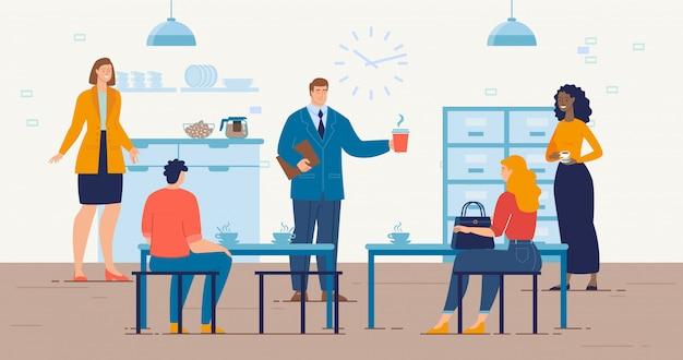 Kaffeepause im büro trendy flat vector concept