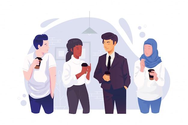 Kaffeepause im büroarbeitskonzept, geschäftsmannschaftsarbeitskommunikation, frau und mann, die einander sprechen, flache illustration