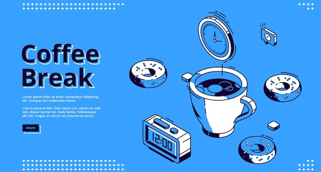 Kaffeepause isometrische landingpage, frühstück