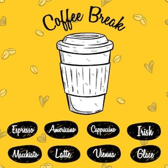 Kaffeepause oder kaffeekarte mit handgezeichneten stil auf gelb