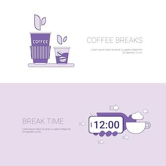 Kaffeepausen und zeit für rest template banner