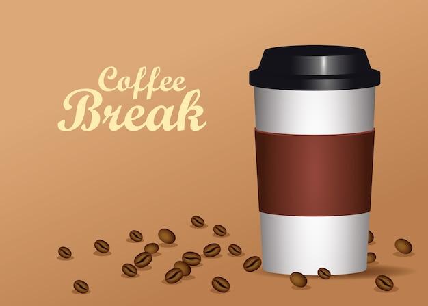 Kaffeepausenplakat mit plastikkanne und samenvektorillustrationsentwurf