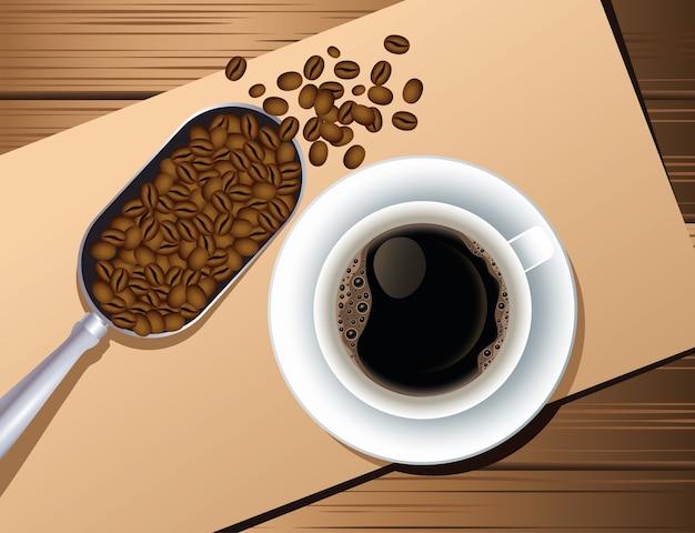 Kaffeepausenplakat mit tasse und samen im hölzernen hintergrundvektorillustrationsentwurf des löffels