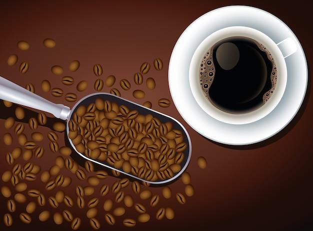 Kaffeepausenplakat mit tasse und samen im löffelvektorillustrationsdesign