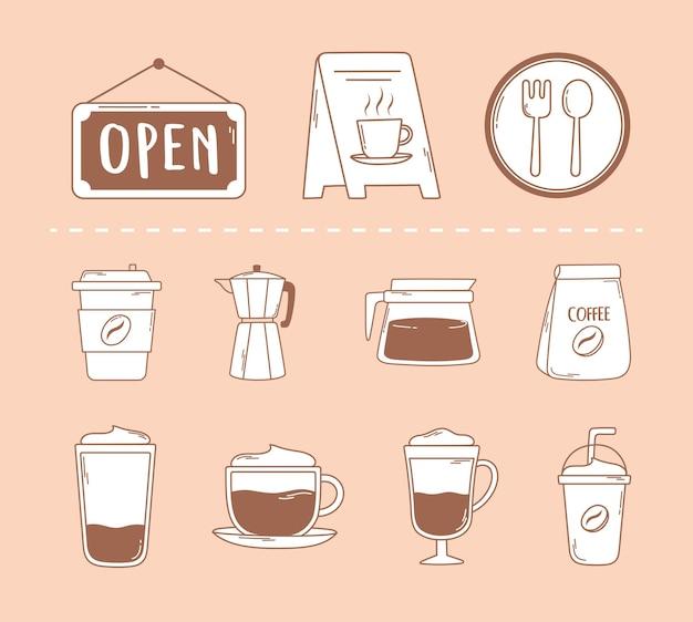 Kaffeerestaurantpaket moka-topfbecher und frappensymbol in der braunen linie