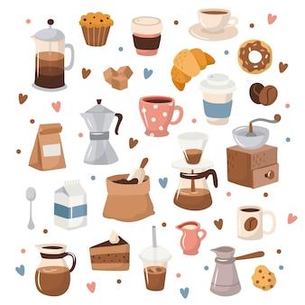 Kaffeesammlung, verschiedene kaffeeelemente mit beschriftung.