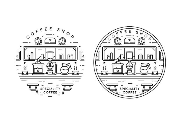 Kaffeespezialitäten monoline badge design