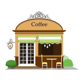 Kaffeestube. die fassade der shopikone in der flachen art