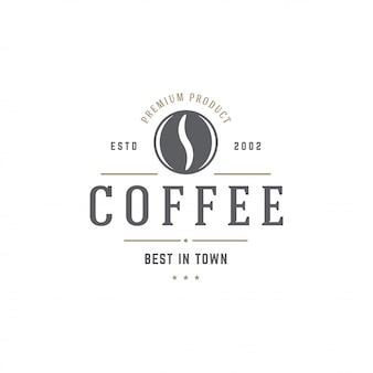 Kaffeestube-emblemschablonen-bohnenschattenbild mit retro- typografievektorillustration