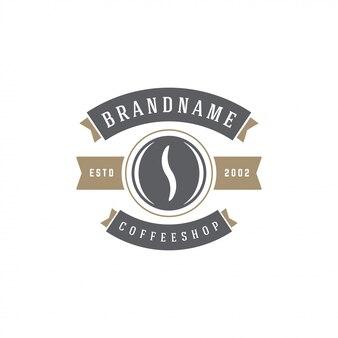 Kaffeestube-emblemschablonen-bohnenschattenbild