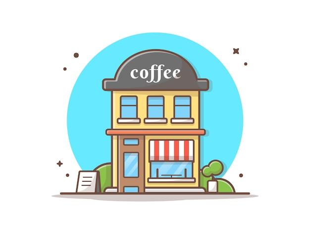 Kaffeestube-gebäude-vektor-ikonen-illustration. gebäude-und markstein-ikonen-konzept