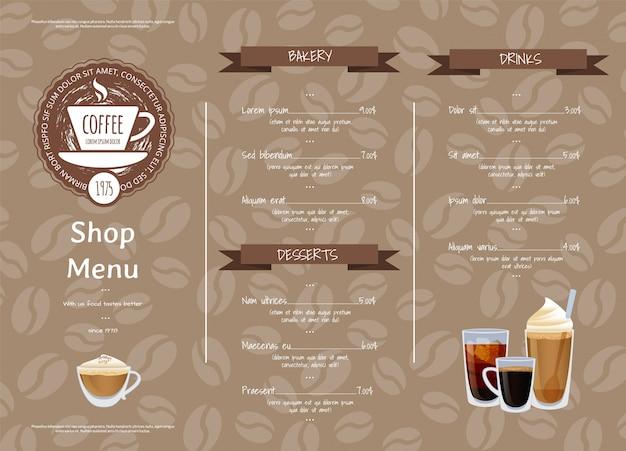 Kaffeestube horizontale menüvorlage. illustration des cafémenüs, -espressos und -kaffees