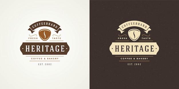 Kaffeestube logo vorlage mit bohnen silhouette gut