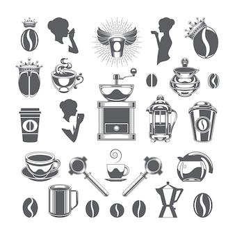 Kaffeestube-vektorgestaltungselementgegenstände und -ikonen eingestellt.